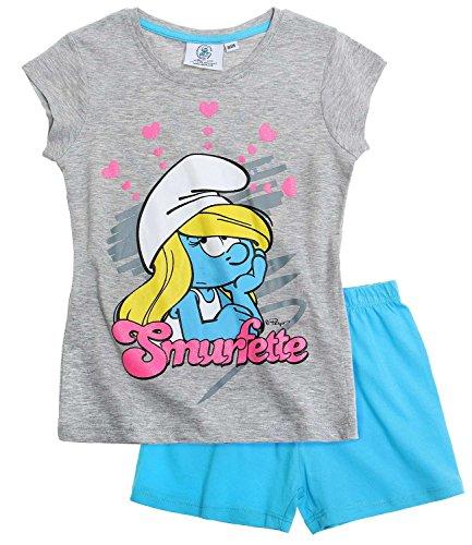 Die Schlümpfe Mädchen Shorty-Pyjama - blau - 116 (Blaue Sommer-pyjama)