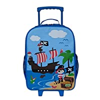 Bobble Art Pirate Design, Childrens Carry On Suitcase on Wheels - Ideal Cabin Luggage/Childrens Hand Luggage Trolley Bag/Suitcase