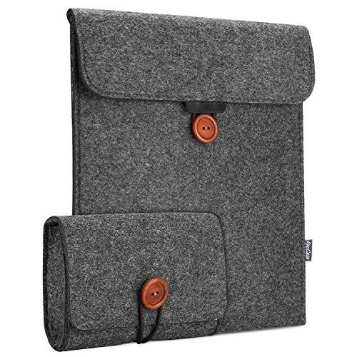 ProCase MacBook Air 13 Zoll Ärmeltasche, Filz Sleeve Case Hülle für MacBook Air 13 Zoll Model A1932 mit EIN Zusatztasche Zubehörtasche Zubehörorganizer -Schwarz