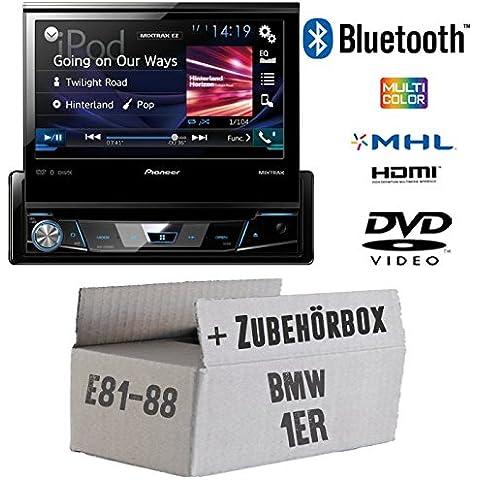 BMW 1er E81 E87 - Pioneer AVH-X7800BT - 1-DIN 7-Zoll USB Bluetooth DVD - Autoradio - Einbauset