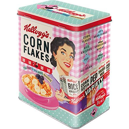 Nostalgic-Art 30147 Kellogg's - Happy Hostess Corn Flakes | Vorratsdose L | Aufbewahrungs-Box | Cornflakes-Dose | Blech-Dose | Metall