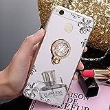 Uposao Kompatibel mit Xiaomi Redmi 4X Hülle Glitzer Diamant Glänzend Strass Spiegel Mirror Handyhülle mit Handy Ring Ständer Schutzhülle Transparent TPU Silikon Hülle Tasche,Silber