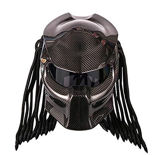 YASULE Black Carbon Fiber Predator Motorcycle Helm, Anti-UV-Anti-Nebel-Maske Tassel Scorpion Off-Road Motorcycle Lokomotive Full Face Helm DOT-Zertifizierung,XL (Helm Und Predator Maske)