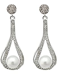JewelMaze Austrian Stone Silver Plated Pearl Dangler Earrings-1313612