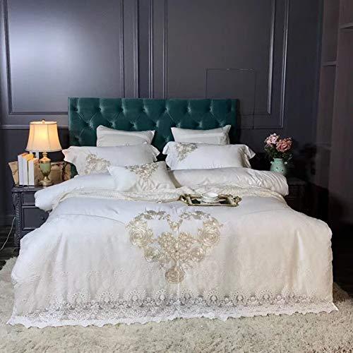 HIUGHJ steppen Weiße romantische Spitze Design Golden Rose Stickerei 80S ägyptischer Baumwolle Bettwäsche Set Bettbezug Bettlaken Kissenbezüge Free shipping200 x 230 cm (79 x 91 Zoll) 220 x 24 -