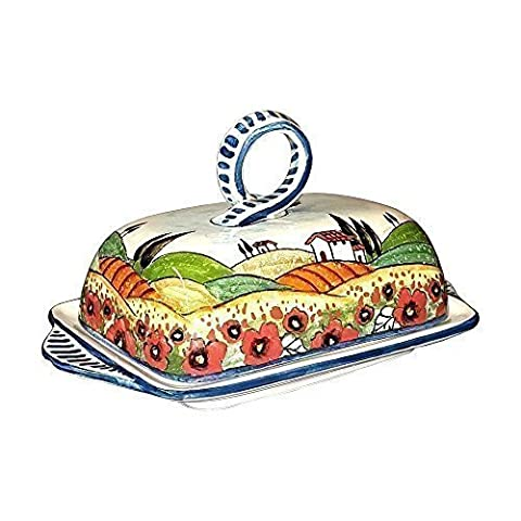 CERAMICHE D'ARTE PARRINI - Italian ceramics artistic, butter dish decorated landscape poppies , hand painted made in ITALY Tuscan