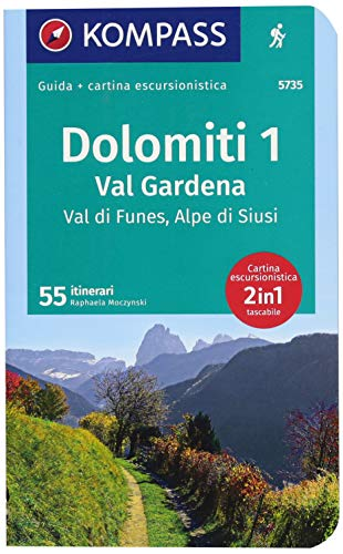 Guida escursionistica n.5735. Dolomiti 1. Val Gardena, Val di Funes, Alpe di Siusi. Con carta