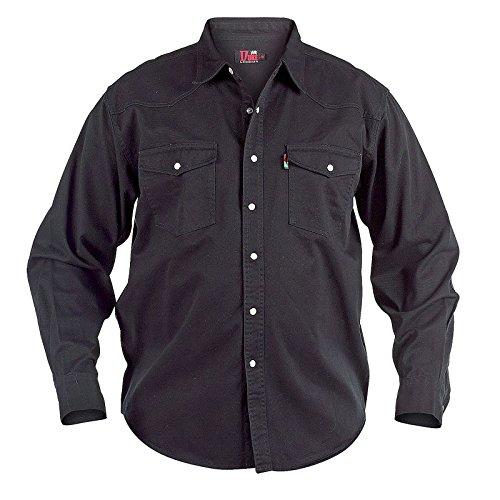 Duke London - Camicia a maniche lunghe, da uomo, stile denim slavato, da lavoratore Black