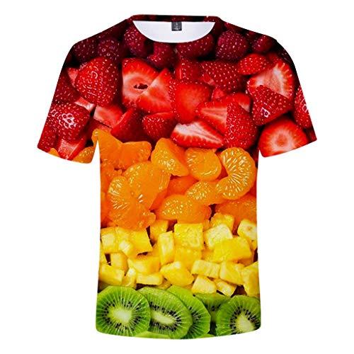ODRD Hot Jugend Herren T-Shirt Frühling Sommer Mode Obstteller Erdbeere Unisex 3D-Druck kreative Rundhals Beiläufige Kurze Hemdoberseite...