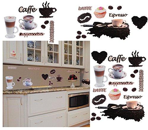 """Preisvergleich Produktbild 38 Stück: XL Wandsticker - """" Kaffee / Espresso - Latte & Cappuccino """" - selbstklebend + wiederverwendbar - Aufkleber für Kinderzimmer - Wandtattoo / Sticker Kinder & Erwachsene - Kinder - Wandaufkleber - Postersticker - Deko - Küche Kaffeebohnen - Poster - Tattoo"""