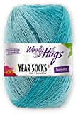 Woolly Hugs Year Socks Fb. 08 AUG, 100g Sockenwolle mit dezentem Degradé Farbverlauf