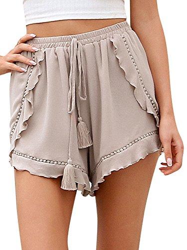 70d95e842e2ae2 Terryfy Damen Kurz Hose Sommer Elegant Lässig High Waist mit  Quasten-Tunnelzug Beach Shorts