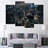 nanxiaotian Pittura Decorativa del Soggiorno Creativo a Getto d'inchiostro HD, 4 Pezzi con Cornice, Pittura murale di Fondo del Divano Batman Personaggio del Film
