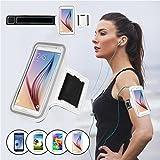 SAVFY® Blanc Brassard Armband Sport pour Samsung Galaxy S5 / S6 pour le Jogging / Gym / Sport - confortable avec sangle réglable