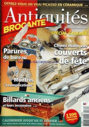 ANTIQUITES BROCANTE [No 70] du 01/12/2003 par COLLECTIF