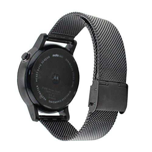 Netspower-Milanese-Acciaio-Inossidabile-Sostituzione-Cinturino-Watch-Lussuoso-Braccialetto-Cinturino-Orologio-Strap-Cinturino-per-MOTO-360360-II-Nero