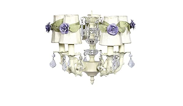 Jubilee Collection 7030-6501-202-MG2304 5 Arm Stacked Glass Ball Ivory Chandelier and Plain Ivory Sconce Shade with Green Sashes and Lavender Small Rose Magnets