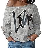 ZIOOER Damen Pulli Eine Seite Schulterfrei Love Langarm T-Shirt Rundhals Ausschnitt Lose Bluse Hemd Pullover Oversize Sweatshirt Oberteil Tops Grau S