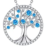 GinoMay Femme Argent sterling 925 Argent sterling Rond brillant Bleu topaze bleue...