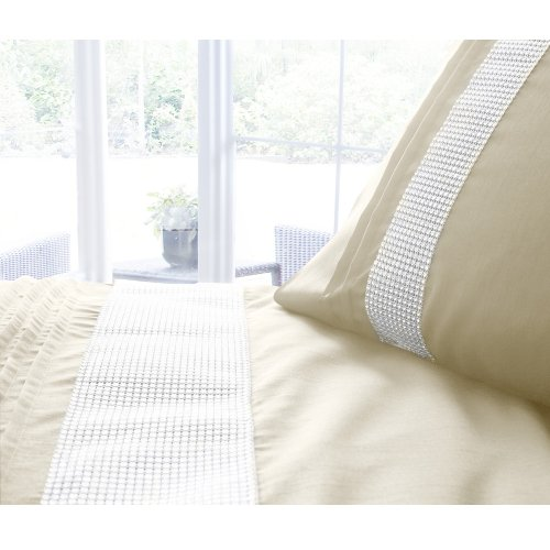KIMBERLEY SUPER KING BED DUVET COVER QUILT BEDDING SET DIAMANTE TRIM – GOLD NEW