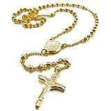 Crucifijo Rosario Colgante Collar - SODIAL(R)Acero Inoxidable Colgante Collar Oro Jesus Cristo Crucifijo Cruzar Cruz Rosario Retro 23 Pulgada Cadena Hombre,Mujer