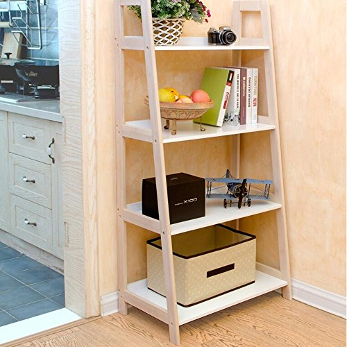 Shelves Duo Bücherregal Regale Bücherregal 3-Tier/4-Tier/5-Tier Bambus Leiter Regal Bücherregal Regal Multifunktionale Lagerregal Display-Ständer Hängeregal, (Farbe : 5 -Tier) (4-tier-bücherregal)