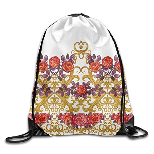 YuYfashions Pattern Seamless Floral Border Garland of Flowers Beautiful Bright Orange Rose Buds Red Leaves Drawstring Pack Beam Mouth Gym Sack Shoulder Bags for Men & Women Beam Mouth Package A2967 R Red Rose Border