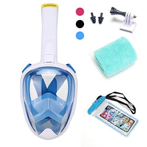 Supertrip Schnorchelmaske Tauchermaske mit 182-Grad-Sicht,unterstützen Kamera, tauchermaske mit schnorchel Anti-Fog und Anti-Leck-Technologie(Weiß/Blau, L/XL)