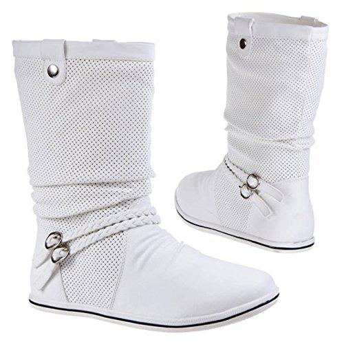 Damen Stiefeletten Stiefel Boots Flache Schlupfstiefel Schuhe Warm Gefüttert 86 Weiß