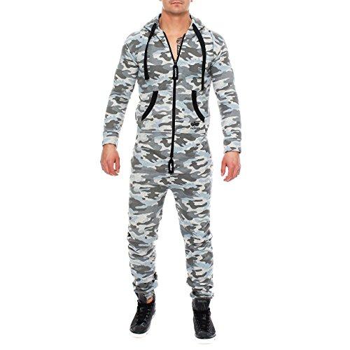 Finchman Herren Camouflage Jumpsuit Jogger Jogging Anzug Trainingsanzug Overall Grau
