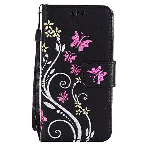Cozy Hut Huawei Y3 II /Y3 2 Hülle Handyhülle Huawei Y3 II /Y3 2 [Premium Leder] [Standfunktion] [Kartenfach] [Magnetverschluss] Leder Brieftasche für Huawei Y3 II /Y3 2 - schwarz