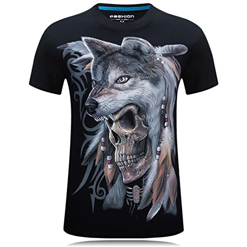 Men's Hip Hop Camiseta Animals 3D Printed T Shirt Black 6