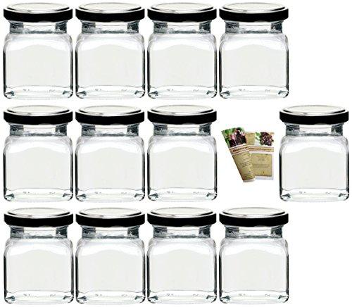 """Flaschendiscount 20 leere eckige Einmachgläser """"Quadrat"""" 120 ml incl. Drehverschluss Silber, Vorratsgläser, Marmeladengläser, Einkochgläser, Gewürzgläser, Einweckgläser"""
