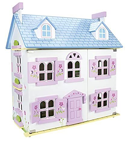 Belle Alpine Maison de poupée en bois avec des meubles et de la famille de poupées