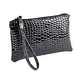 MEIbax Dame Krokodil Leder Clutch Handtasche Tasche Geldbörse Frauen Clutch Glitzer Elegant Abendtasche Handtasche (Black)