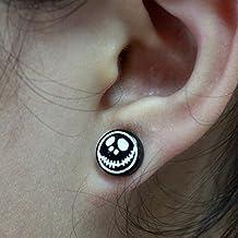 HuntGold 1Pair Moda 10mm Cráneo Cabeza Redonda pendientes magnético Nail Stud para Mujeres Regalo color negro