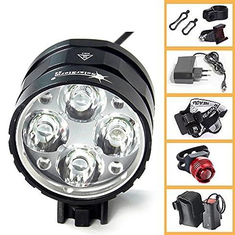 Ammiy® Front lamp Flashlight CREE XM-L T6 3000 lumen lm 4 x CREE XM-L T6 LED rechargeable headlight headlight rechargeable 8.4V, 7200MAH 4 X 18650 Battery SET Lighthouse lamp headlight bike bicycle cycling