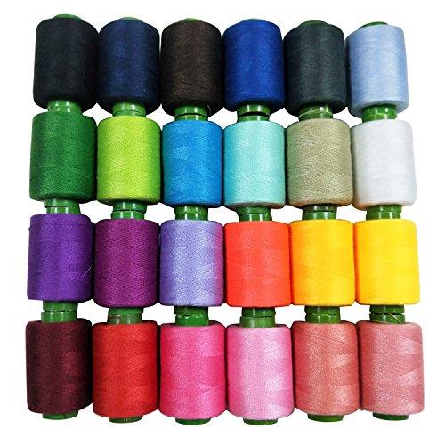 REKYO Nähgarn Spule 24 verschiedene Farben 800 yards jedes Gewinde Walzen, Polyestergarn / Stickerei Gewinde / Gewinde Overlock Kit für Maschinennähen und Nähen von Hand