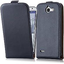 Cadorabo - Funda Flip Style para Huawei ASCEND G730 de Cuero Sintético Liso - Etui Case Cover Carcasa Caja Protección en NEGRO-DE-CAVIAR