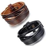 Cupimatch,2 Stück, braunes, schwarzes, breites Lederarmband für Herren und Damen