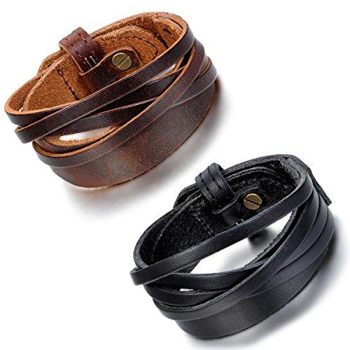 cupimatch 2Herren Damen Braun Schwarz Breit Leder Manschette Armband, Armband aus Leder (Leder Armband Schwarz Manschette)