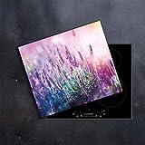 DAMU | Ceranfeldabdeckung 1 Teilig 60x52 cm Herdabdeckplatten Lavendel Natur Elektroherd Induktion Herdschutz Spritzschutz Glasplatte Schneidebrett