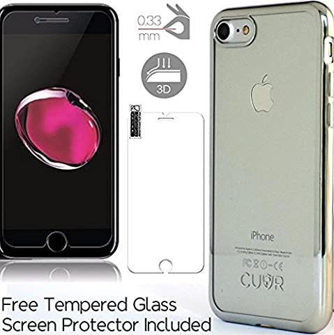 iPhone 7 Plus Case Cover and Screen Protector Bundle by CUVR. Metallic Bumper with Transparent Back Cases for Apple iPhone 7 Plus (Silver)