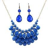 YAOYUE Damen Perle Kette Ohrringe Sets Statement Halskette Bonbonfarben Resin Anhänger Mehrschichtige Schmuck (Blau)