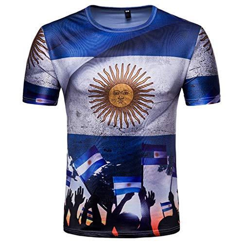 T-shirt uomo, maglietta uomo manica corta primavera ed estate tendenza di stampa 3d (blanco), l qinsling