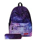 Hzjundasi Escolares Mochilas Juveniles - Mochila Escolar,Galaxy Patrón Casual Colegio Bolso con Caja de Lápiz para Estudiantes Niños Niñas
