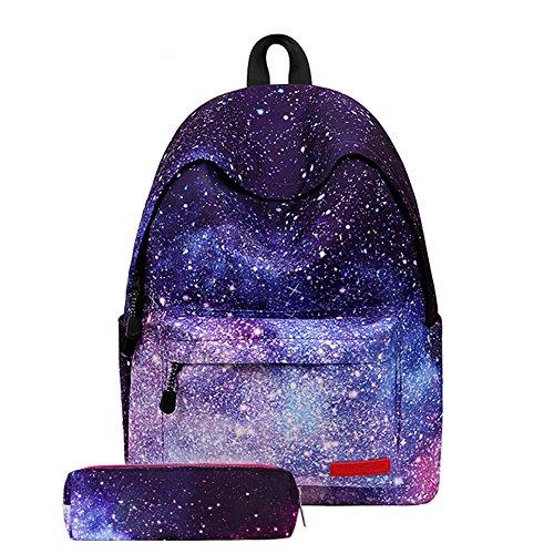 Hzjundasi Rucksack Schulrucksack Schultaschen - Galaxy Muster Schulrucksäcke Daypack mit Mäppchen Tasche für Jungs Mädchen Teenager