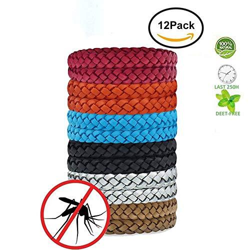 Imagen de wuudi pulseras repelentes de mosquitos, con pulsera de piel que protege contra los insectos para adultos y niños, sin deet,12 unidades,