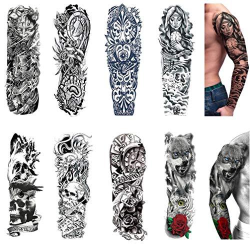 Tattoo ÄRmel GroßE GefäLschte Schwarze Full Arm Tattoo Aufkleber, Frauen MäNner Tattoo Aufkleber Schwarzer Spitze Aufkleber TemporäRe Tattoos Mode Body Art - 8 Blatt ()