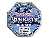 Konger - Filo da pesca Cristal Clear, con rivestimento in fluorocarbonio, 0,12-0,50mm, 150m, monofilo super forte-, trasparente, 0,28mm / 10,30kg